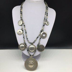 Chico's Silver Tone Beaded Circle Necklace